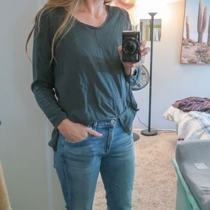 Madewell silk and cotton olive longsleeve